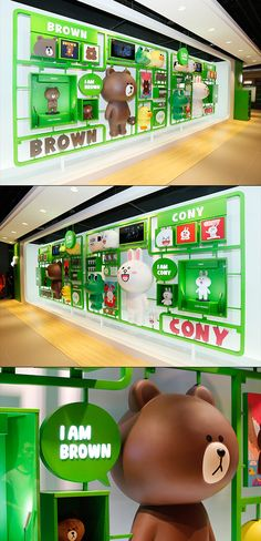 This is an image that shows the LINE Friends Store located in Taipei with the various purchasable merchandise available in the store. Display Design, Booth Design, Store Design, Wall Design, Display Ideas, Exhibition Display, Exhibition Space, Museum Exhibition, Environmental Graphics