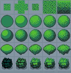 How to Draw Pixel Art Foliage! I especially love the demonstration on rows 1 and they communicate extremely well how to add depth with graduated shading. Pixel Design, Web Design, How To Pixel Art, Arte 8 Bits, Pixel Drawing, 2d Game Art, 2d Art, Pixel Characters, Pixel Animation