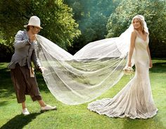 Kate Moss (with dress designer John Galliano). I have NEVER seen anything like that dress, the way it drapes ... & THAT TRAIN