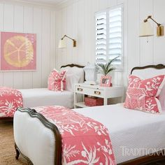 fibreworksLove this coastal bedroom featured in Design by: ? fibreworksLove this coastal bedroom featured in Design by: ? Guest Bedrooms, Twin Beds Guest Room, Beautiful Bedrooms, Home Bedroom, Bedroom Design, Farmhouse Interior, Home Decor, Coastal Bedrooms, Tropical Bedrooms