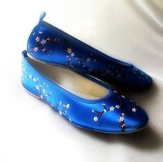 Wedding Shoes Indigo blue flats cherry blossom by norakaren, $225.00