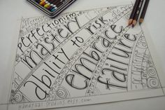 coloring book page for adults and teens; Christine Carter quote about embracing failure; advice for artists, entrepreneurs + other humans by HandyGalStudios on Etsy