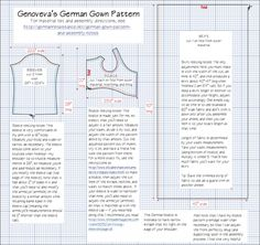 German Gown Pattern. Assembly Notes, and Instructions (Dorothea Meyer's Gown)
