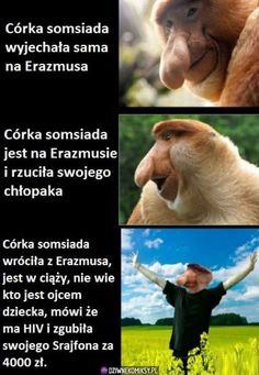 Małpa Janusz -Córka Somsiada -Erazmus Hahaha Best Memes, Funny Memes, Lol, Creative Things, Humor, Happy, Best Memes Ever, Ouat Funny Memes, Humour