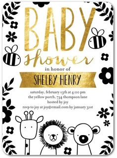 Penned Pals - Baby Shower Invitations - Ann Kelle - Black : Front