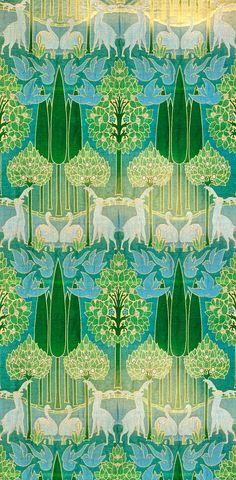 C. F. A. Voysey (designer) Alexander Morton Co. (maker) 1896-1900 Green yellow aqua turquoise teal
