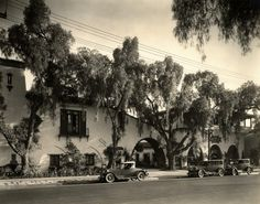 "The ""Court of Olive"" building (as it was called in 1929) was built by silent western star Fred Thomson and his wife, Frances Marion, around 1928, the year Thomson died.  Located at 6530 Sunset Blvd.,it is now the site of the endangered Cat and Fiddle Restaurant and Pub. This building is incorrectly referred to as the Thompson [sic.] Building online. If anything, it should be referred to by its original name or the Thomson Building. (California State Library) Bizarre Los Angeles"