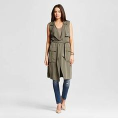 Women's Long Vest Olive Green S - Mossimo : Target