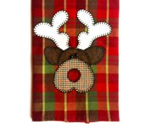 Christmas Tea Towel, Christmas Reindeer Applique Kitchen Towel, Dish Towel, Hand Towel, Tea Towel, Christmas Decor, Reindeer Decor