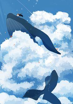 Japon Illustration, Digital Illustration, Anime Scenery Wallpaper, Wallpaper Backgrounds, Fantasy Landscape, Fantasy Art, Foto Top, Whale Art, Wale
