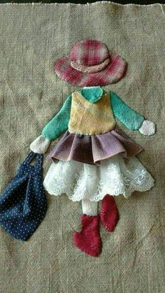 Ulla's Quilt World: Quilt bag - Japanese patchwork Applique Quilts, Embroidery Applique, Embroidery Patterns, Quilt Patterns, Sewing Patterns, Hand Applique, Wool Applique Patterns, Patchwork Patterns, Dress Patterns