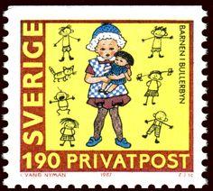 """Sweden 1kr90ö """"80th birthday Astrid Lindgren"""" 1987.  """"Barnen i Bullerbyn"""", art by Ingrid Vang Nyman. Zlatko Jakuš sc."""
