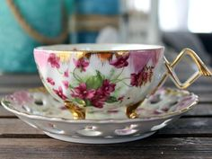 Opalescent Teacup. Pearlized Tea Cup and Saucer, Lefton Bone China, Reticulated Saucer - Floral Teacup