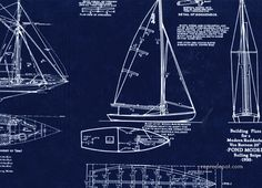 Boat blueprint - fabric & print