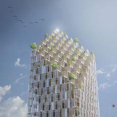C.F. moller reveals a wooden skyscraper for stockholm
