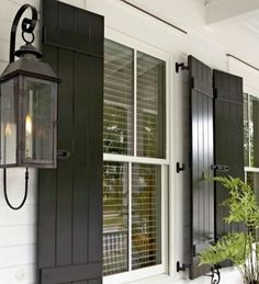 shutters - there are a variety of styles that can be applied to your home. traditional or cottage, shutters can make a home's exterior look complete. White Cottage, White Farmhouse, Cottage Style, Interior Exterior, Exterior Design, Exterior Shutters, Diy Shutters, Wooden Shutters, Exterior Shutter Colors