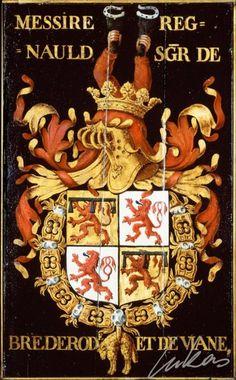 "(44) Renaud II, sgr de BREDERODE et Vianen (1415-1473) -- ""Messire Regnauld, sgr de Brederod et de Viane"" -- Armorial plate from the Order of the Golden Fleece, painted by Pierre Coustain, 1445, Saint Bavo Cathedral, Gent"