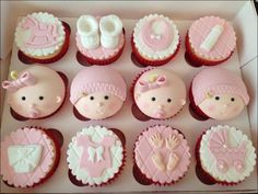 These lovely pink cupcakes will be perfect for your baby girl in her welcoming party! They're fabulous, adorable and definitely tasty! Cupcakes, Baby Girl Themes Decoration For Modern Baby Shower Cake Cute Baby Shower Cakes Design & Decoration (Cute Cake Baby Cupcake, Baby Shower Cupcakes For Girls, Baby Shower Cake Pops, Shower Cakes, Cupcake Cakes, Cupcake Ideas, Cup Cakes, Cake Baby, Christening Cupcakes Girl