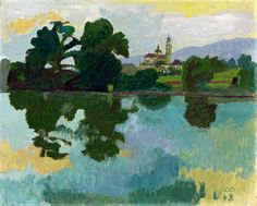 Cuno Amiet (Swiss, 1868-1961) - Landscape with the river Aar and Cathedral in Solothurn - 1948