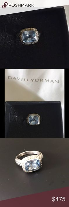 David Yurman Blue Topaz Noblesse Ring- Size 7 David Yurman Blue Topaz Noblesse Ring- Size 7. Stunning David Yurman Pre-owned Noblesse Blue topaz and Pave Diamonds ring.  10x8 mm cushion blue Topaz. The color of this Topaz is SO beautiful!  😍 David Yurman Jewelry Rings