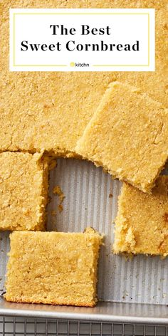 This easy cornbread has crispy edges and a moist and fluffy center, and is packed with rich, buttery flavor. Baking Recipes, Real Food Recipes, Sweet Cornbread, Cornbread Recipes, Corn Recipes, Quick Bread, Baking Pans, Cooking Time, Food And Drink