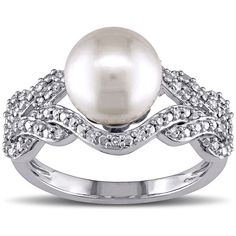 Miadora 10k White Gold Cultured Freshwater White Pearl and 1/5ct... ($396) ❤ liked on Polyvore featuring jewelry, rings, white, diamond cocktail ring, cocktail ring, round diamond ring, white diamond ring and pearl rings