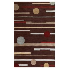 Linear Rise Brown 7 ft. 9 in. x 9 ft. 9 in. Area Rug