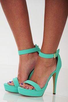Last but not least are these beautiful sandals! Like yessssss! I know I've been ranting and raving about mint shades but can't you see why? They are so freaking....ugh I can't explain! I need them, and they come in Hot Pink. A girls favorite color.   Sweetly Stepping Heel: Mint