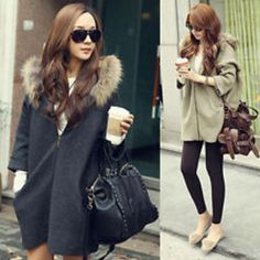 Loose solid zipper hooded sweater coat outerwear