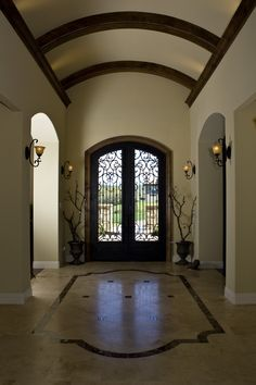 Foyer with barrel ceiling