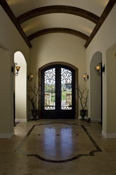 Foyer with barrel ceiling