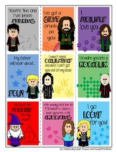 Harry Potter Valentines by me!  Feel free to print and share www.galleriabyleah.com