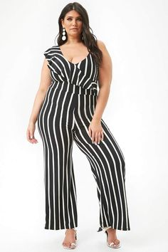 7edf37f9f7c3 Forever 21 Plus Size Striped One-Sleeve Jumpsuit plussizejumpsuitssummer   plussizejumpsuitsoutfit  plussizejumpsuitsharems