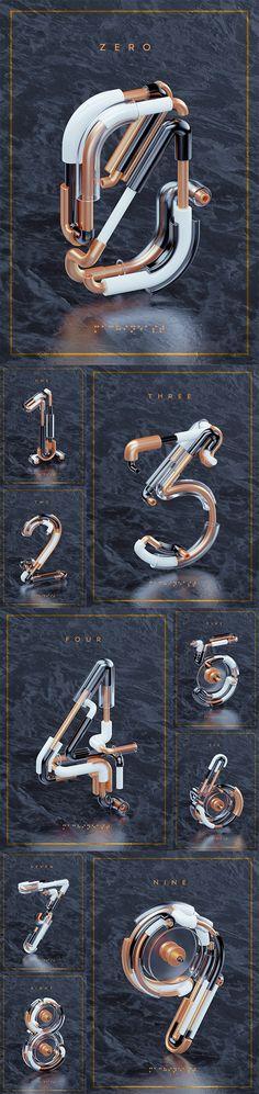 NOMBOR 3D Typography | Abduzeedo Design Inspiration