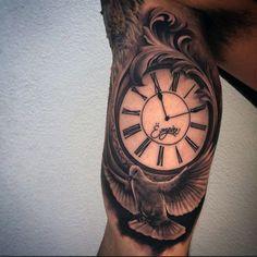 Guys Inner Biceps Clock And Lovely Dove Tattoo