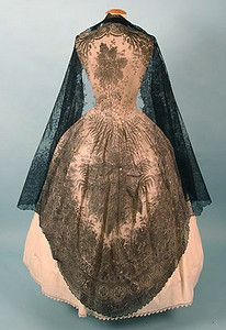 2 Large Black Lace Shawls, 19th C.