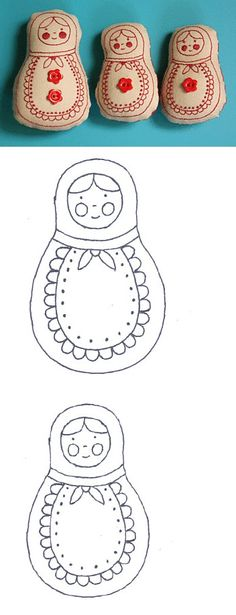 Sweet little Matryoshka stitchery dolls to mak Cross Stitch Embroidery, Embroidery Patterns, Hand Embroidery, Doll Patterns, Sewing Patterns, Sewing Crafts, Sewing Projects, Matryoshka Doll, Thinking Day