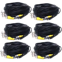 VideoSecu 6 Pack 150ft Feet Security Camera Video Power Cables BNC RCA Wires CCTV DVR Home Surveillance Cords with Free Adapters CJX by VideoSecu. $79.99. Use with Closed Circuit Television (CCTV) applications and security camera components. This pre-terminated CCTV cable is perfect for transmitting video and power.   Simplify the installation of surveillance systems by using one cable to carry video and power. Extend the cable on your new camera easily with this extension ki...
