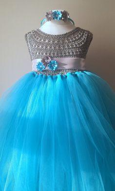 Frozen Elza Princess Flower girl dress by MimozaLuxuryHandKnit