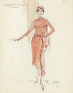 moss mabry | 228: MOSS MABRY SKETCH FOR ELIZABETH TAYLOR IN GIANT