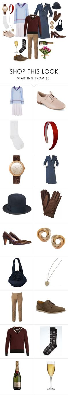"""Hannie, Tom, and Joan Shipkin"" by attendthetale ❤ liked on Polyvore featuring Arthur Arbesser, Clarks, M&Co, Vacheron Constantin, Stetson, Bulgari, Urban Pipeline, AMI, Banana Republic and Riedel"