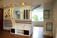 Functional Room Divider Ideas for modern home interior designs Sofa Design, Flur Design, Hall Design, Living Room Partition Design, Room Partition Designs, Tv Unit Furniture Design, Modern Tv Wall Units, Divider Design, Divider Ideas