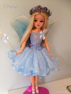 Rerooted and repainted Sindy bluebell fairy