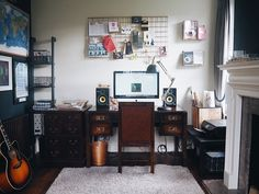 home office makeover Dark Walls, White Walls, Yellow Artwork, Masculine Room, Cheap Shelves, Beige Curtains, Chimney Breast, Living Room Designs, Living Rooms