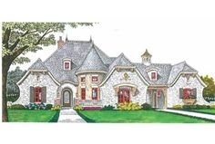 European Style House Plan Love the parking court and garages!