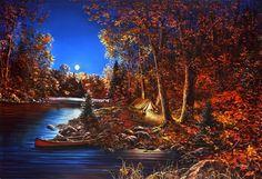 "As Night Falls  By Jim Hansel  Cabin Boat Duck Art  Print Image Size 16/"" x 12/"""