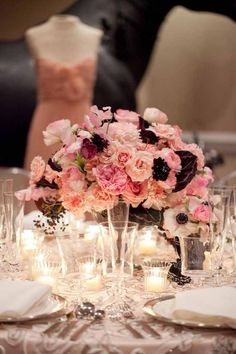 Lewis Miller Design - Compote Style Flower arrangement with Pink flowers - pink roses, scabiosa