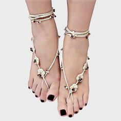 Floral Braided & Beaded Boho Barefoot Sandals - White