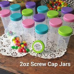 24 Pill Bottle Jars Pink Aqua Purple Lime Caps Doc McStuffins 4314 DecoJars USA #Decojars #Birthdayoranyevent