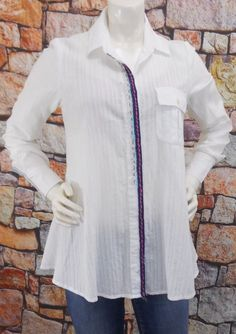 60665efc Details about Free People Button Down Shirt Size 4 White Cotton Long Sleeve  Embroidered Swing